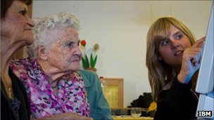 Elderly people and carer in Bolzano, Italy