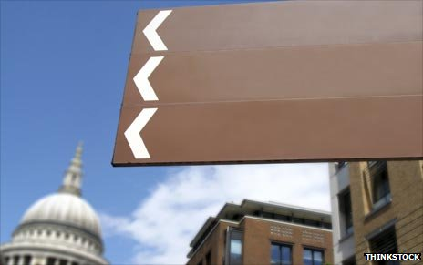 Blank direction signs in city
