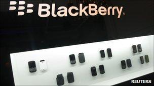 Blackberry phones on display