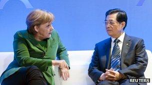 German Chancellor Angela Merkel and Chinese President Hu Jintao
