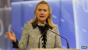 US Secretary of State Hillary Clinton speaks at the APEC meeting in Honolulu 11 November 2011