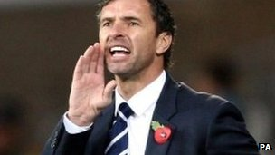 Wales manager Gary Speed shouts out instructions during the 4-1 friendly win over Norway
