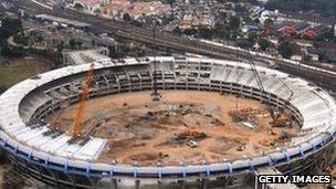 The Maracana stadium under ewconstruction