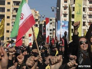 Hezbollah supporters mark the religious festival of Ashura in Beirut (6 December 2011)
