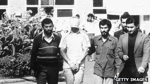 1979 file photo of an American hostage is shown before the media by his Iranian captors, Tehran, Iran 09 November 1979