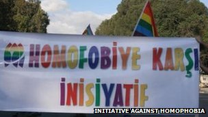 A banner on a march against homophobia in northern Cyprus, 2009 (image via Initiative Against Homophobia)