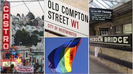 San Francisco's Castro District, Old Compton Street in London's Soho, Hebden Bridge rail station, Gay Pride flag