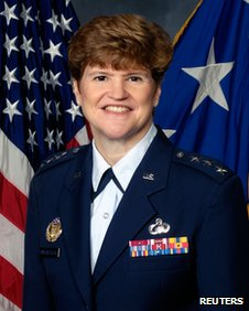 Air Force Lt Gen Janet Wolfenbarger, who has been nominated by US President Barack Obama to become the service's first four-star general in an undated handout photo obtained by Reuters on 6 February 2012