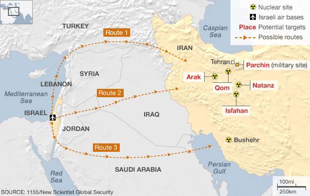 Map showing possible routes Israeli aircraft might take to bomb Iranian nuclear sites