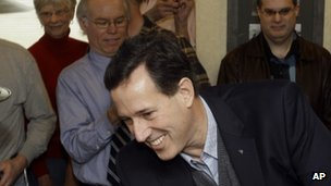 Rick Santorum greets diners at the Rainbow Grill in Grandville, Michigan 28 February 2012