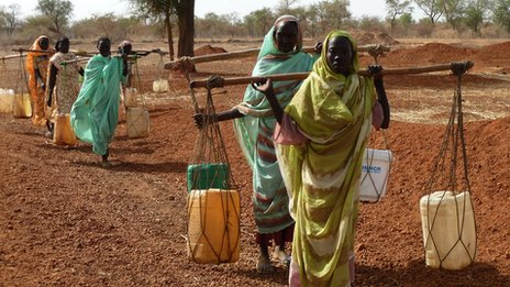 Women carry water bottles across their shoulders at a refugee camp in South Sudan