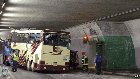 Scene of crash, Switzerland, 14 March 2012