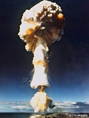 French nuclear test at Mururoa Atoll in 1970