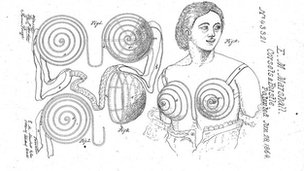 Design for a breast protector, 1864. US patent number 43321. Inventor Eleanor M Marshall
