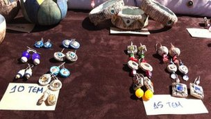 Items for sale using a bartering system in Greece