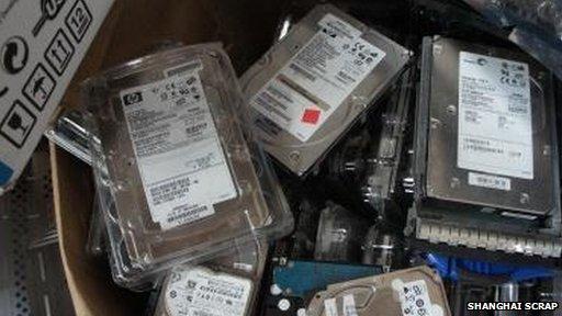 Box of Hewlett Packard hard disk drives