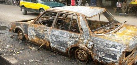 Burnt out car in Maiduguri