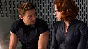 Jeremy Renner and Scarlett Johansson in Avengers Assemble