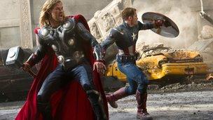 Chris Hemsworth and Chris Evans in Avengers Assemble