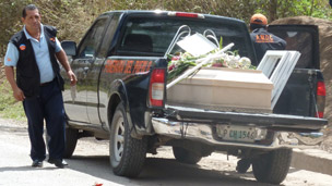 The hearse carrying Ramon's coffin