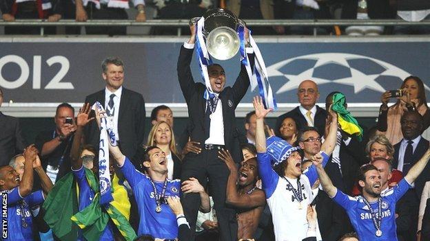 Roberto Di Matteo holds aloft the Champions League trophy