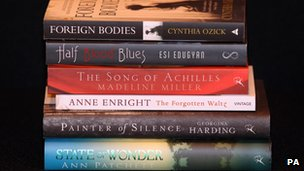"""The shortlist for the Orange Prize for Fiction at The English PEN literary cafe, London Book Fair, Earl""""s Court, London."""