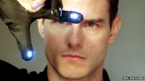 "Tom Cruise as John Anderton (wearing a ""data glove"") in the film Minority Report"