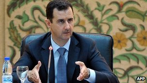 President Bashar al-Assad addresses his cabinet. 26 June 2012