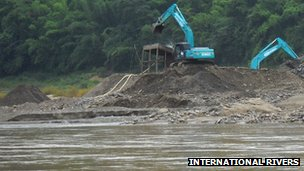 Widening of the Mekong River in Laos