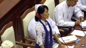 Aung San Suu Kyi in Burma's parliament
