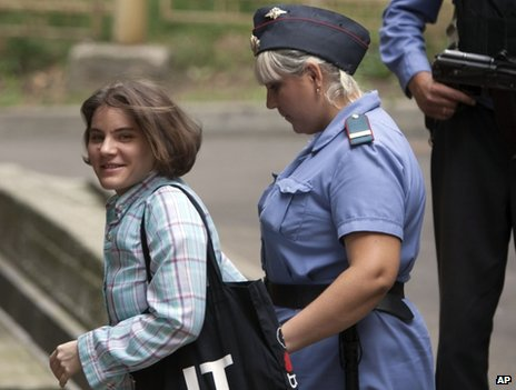 Pussy Riot defendant Yekaterina Samutsevich is led into court in Moscow, 7 August