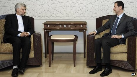 Iranian security chief Saeed Jalili (L) with Syrian President Bashar al-Assad (Sana news agency photo 7 Aug 2012)