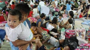 At an evacuation centre in the Philippines