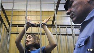 Nadezhda Tolokonnikova, a member of Pussy Riot, in detention