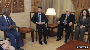 Bouthaina Shaaban, right, with President Assad and Foreign Minister Walid Moualem meeting Kofi Annan. 9 July 2012