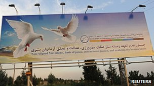 An advert for the summit in Tehran, Iran (29 Aug 2012)