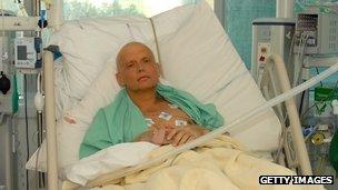 Alexander Litvinenko in a London hospital in November 2006