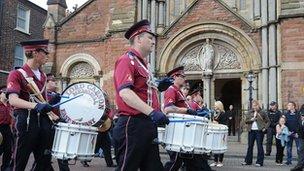 Band outside St Patrick's Catholic church