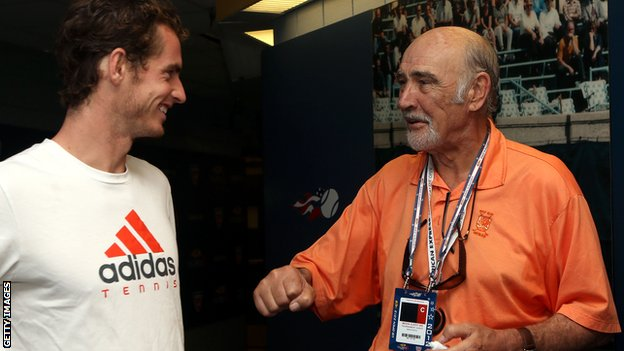Andy Murray [l] with Sir Sean Connery