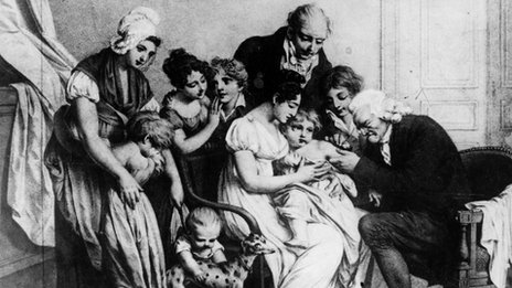 Inventor of vaccinations Edward Jenner (1749 - 1823) vaccinates his son
