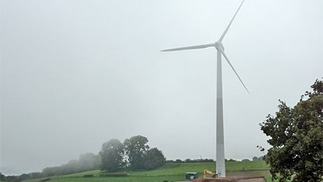 The 500kW wind turbine in situ