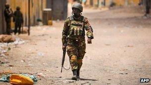 AU soldier in Ksmayo, Somalia, October 2012