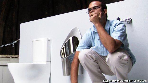 Caltech PhD student Clément Cid their new solar-powered sanitation system