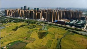 Aerial view of farms in the countryside next to Hefei - archive image