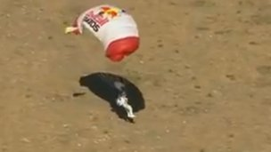 Felix Baumgartner touches down after his highest-ever jump