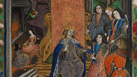 Henry VII receiving the manuscript with a young Henry VIII in the background to the left
