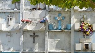 Graves in the cemetery in Acapulco