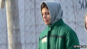 Tolokonnikova in detention in Mordovia (image from 14 Nov 2012)