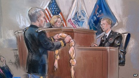 This artist rendering of  Army Pfc. Bradley Manning, right, being shown a bedsheet at Fort Meade, Maryland, 30 November 2012