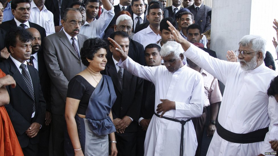 Chief Justice Shirani Bandaranayake, front left